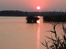 Coucher du soleil sur l'étang Photographie stock libre de droits