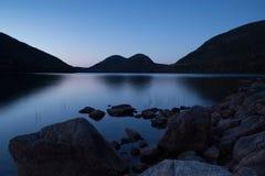 Coucher du soleil sur l'étang de la Jordanie Images stock