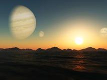 Coucher du soleil sur l'exoplanet rendu 3d illustration de vecteur