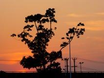 Coucher du soleil sur l'horizon Images stock