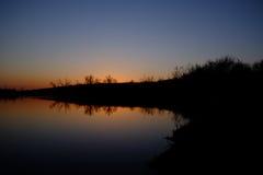 Coucher du soleil sur l'horizon Photographie stock libre de droits