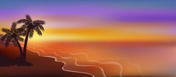 Coucher du soleil sur la bannière horizontale de plage avec des palmiers Image libre de droits