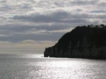 Coucher du soleil sur la côte du sud du Devon Photo stock