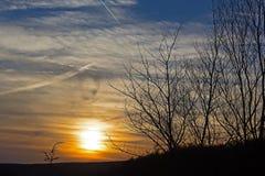 Coucher du soleil sur la chaîne de montagne d'Allegheny en Virginie Occidentale, Etats-Unis Photographie stock libre de droits