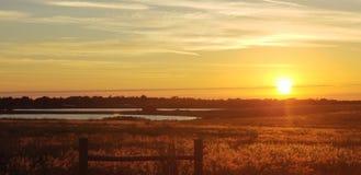 Coucher du soleil sur la courbure de Lynchburg photos libres de droits