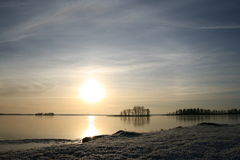 Coucher du soleil sur la glace Image stock