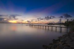 Coucher du soleil sur la lagune indienne de rivière Photos stock