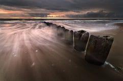 Coucher du soleil sur la mer baltique Photos libres de droits