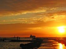 Coucher du soleil sur la mer baltique Images libres de droits