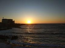 Coucher du soleil sur la mer Méditerranée photos stock