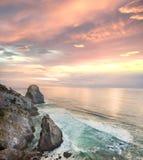 Coucher du soleil sur la mer Méditerranée Photographie stock