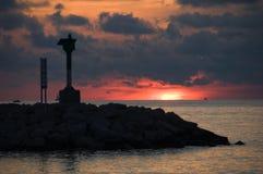 Coucher du soleil sur la mer Méditerranée dans les Frances Photographie stock libre de droits