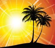 Coucher du soleil sur la plage illustration de vecteur
