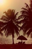 Coucher du soleil sur la plage avec la hutte et les palmiers de tiki Photographie stock libre de droits