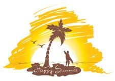 Coucher du soleil sur la plage avec surfer Photos stock
