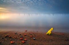 Coucher du soleil sur la plage contre le ciel bleu image libre de droits