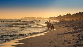 Coucher du soleil sur la plage de Destin Image libre de droits