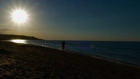 Coucher du soleil sur la plage de mer banque de vidéos