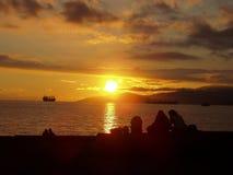 Coucher du soleil sur la plage de Vancouver Image stock