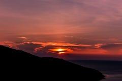 Coucher du soleil sur la plage des Caraïbe Images stock
