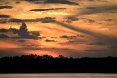 Coucher du soleil sur la plage du nord en Floride Photographie stock