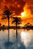 Coucher du soleil sur la ressource de la Chypre Photographie stock libre de droits