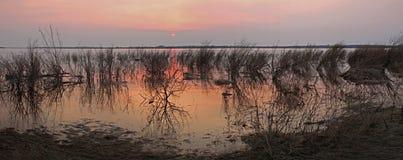 Coucher du soleil sur la rivière pendant les inondations Image stock