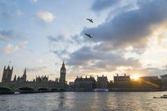 Coucher du soleil sur la Tamise Images libres de droits