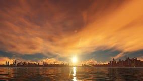 Coucher du soleil sur la ville de gratte-ciel Image stock
