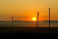 Coucher du soleil sur la zone Image stock