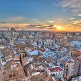 Coucher du soleil sur le centre historique de Valence, Espagne Photographie stock