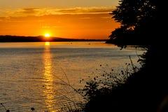 Coucher du soleil sur le Danube Image libre de droits