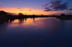 Coucher du soleil sur le delta de la rivière d'Isonzo Soca Photographie stock libre de droits