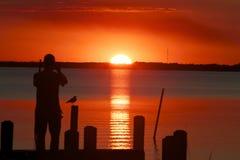 Coucher du soleil sur le dock Photographie stock