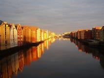 Coucher du soleil sur le fleuve Photos libres de droits