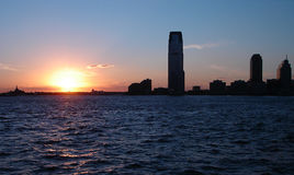 Coucher du soleil sur le fleuve de Hudson photo libre de droits