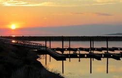 Coucher du soleil sur le Grand Lac Salé photo stock