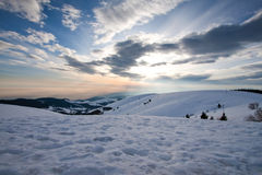Coucher du soleil sur le Grappa de Monte Image stock