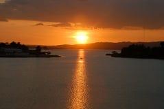 Coucher du soleil sur le lac Flores Guatemala Images libres de droits