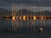 Coucher du soleil sur le lac Genève, ch Photographie stock libre de droits