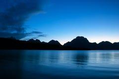 Coucher du soleil sur le lac jackson Photographie stock