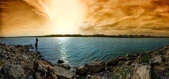 Coucher du soleil sur le lac Jacomo Images libres de droits