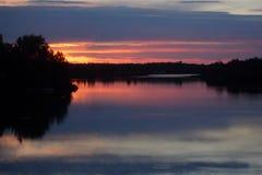 Coucher du soleil sur le lac McRae Photographie stock libre de droits