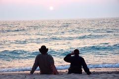 Coucher du soleil sur le lac Michigan image stock
