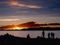 Coucher du soleil sur le lac Namsto, Thibet images libres de droits