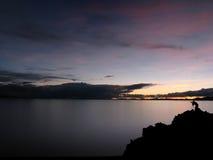 Coucher du soleil sur le lac Namsto, Thibet, Chine Photos libres de droits