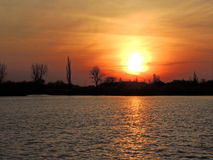 Coucher du soleil sur le lac Palic Images libres de droits