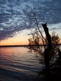 Coucher du soleil sur le lac Peoria Images libres de droits