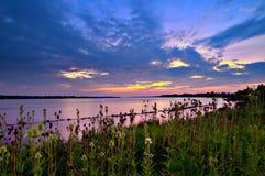 Coucher du soleil sur le Niagara supérieur Images libres de droits