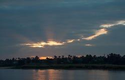 Coucher du soleil sur le Nil Photo stock